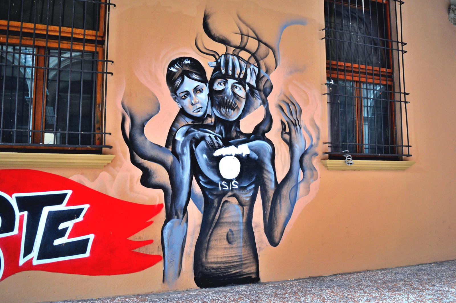 Street art in Bologna's student quarter.