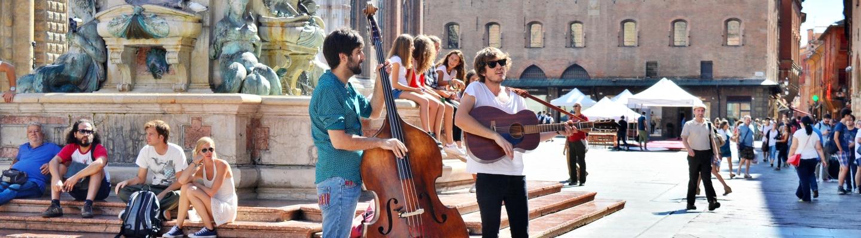 Musicians at Piazza Maggiore, Bologna.