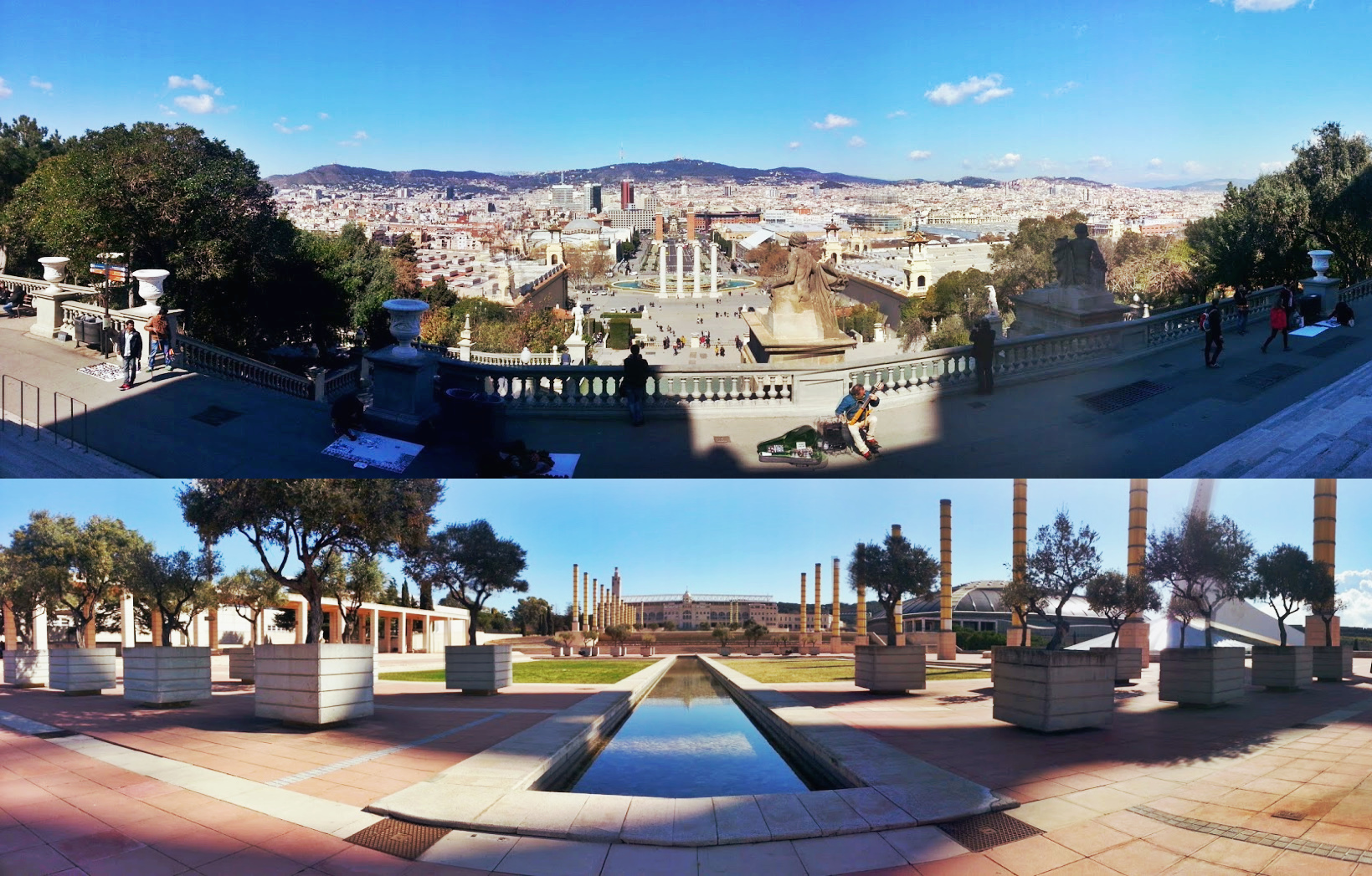 Panorama images of Barcelona.
