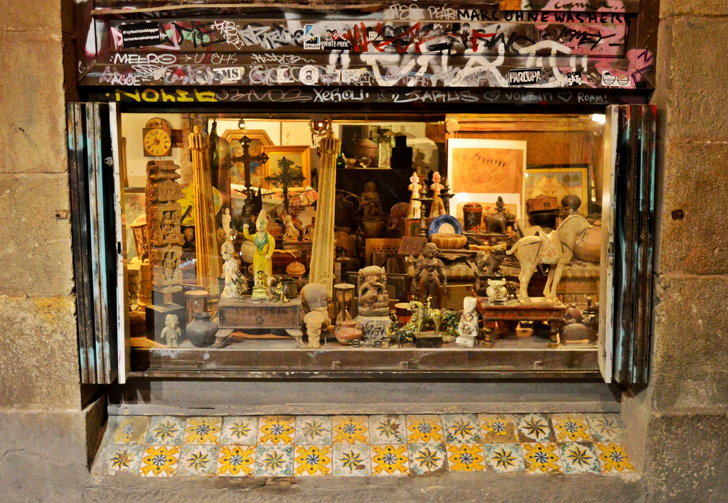 Antique shop in Barcelona.