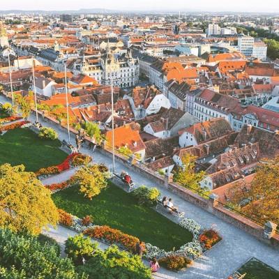 Cityscape view of central Graz